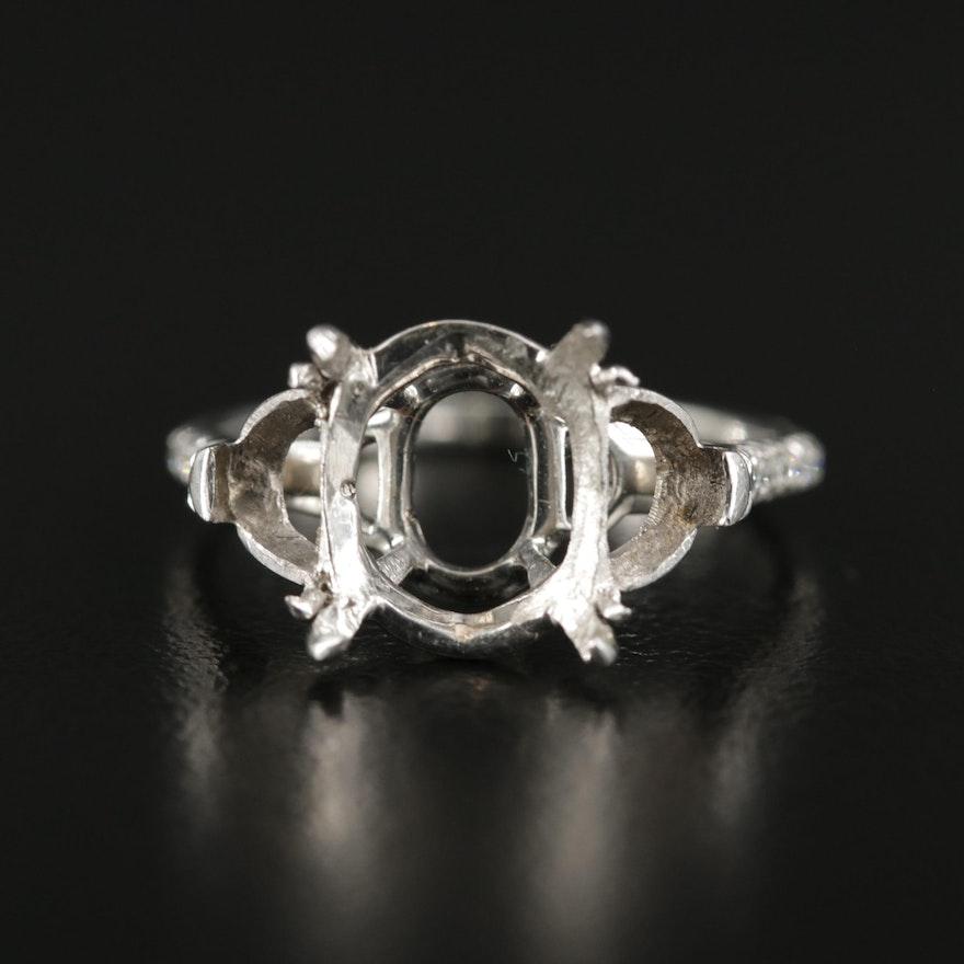 Platinum Semi-Mount with Diamond Lined Shank