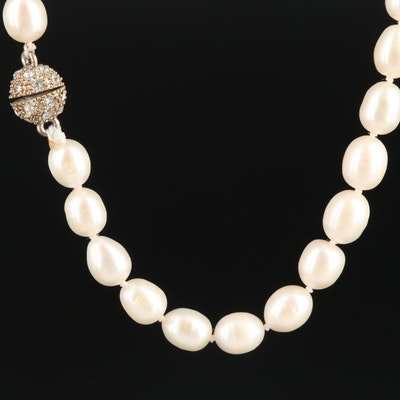 Pearl Necklace with Pearl and Glass Crystal Clasp