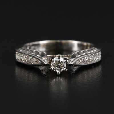 14K Gold Diamond Ring with Raised Shoulders