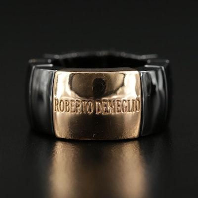 Roberto Demeglio 18K Yellow Gold Ceramic Flex Band