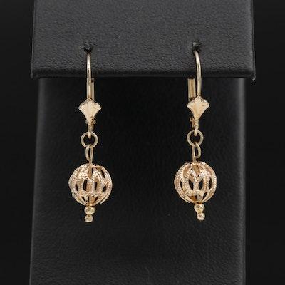 14K Yellow Gold Openwork Orb Dangle Earrings