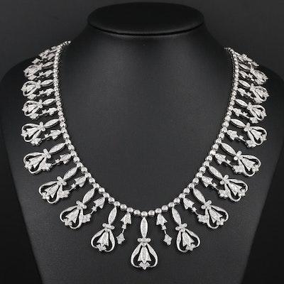 18K Gold 11.70 CTW Diamond Fringe Necklace