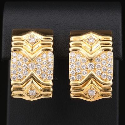 18K Yellow Gold 3.00 CTW Diamond J-Hoop Earrings
