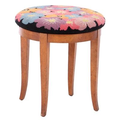 Federal Style Cherrywood and Floral Needlepoint Swivel Stool