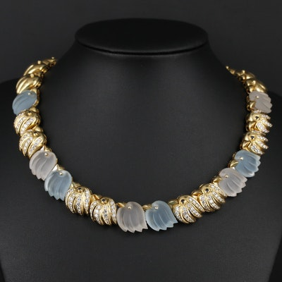 18K Rock Crystal Quartz, Topaz and 3.45 CTW Diamond Bird Motif Necklace