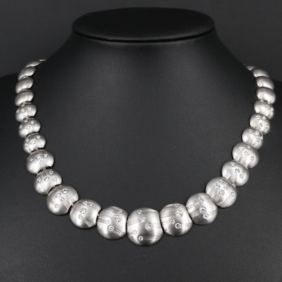 Graduated Platinum and 3.00 CTW Diamond Link Necklace