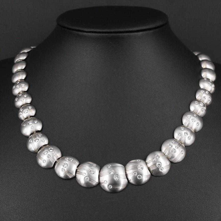 Graduated Platinum and 3.00 CTW Diamond Link Necklace