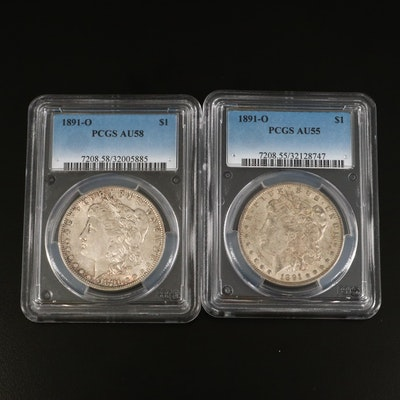 Two 1891-O Morgan Silver Dollars Graded AU55 and AU58 by PCGS