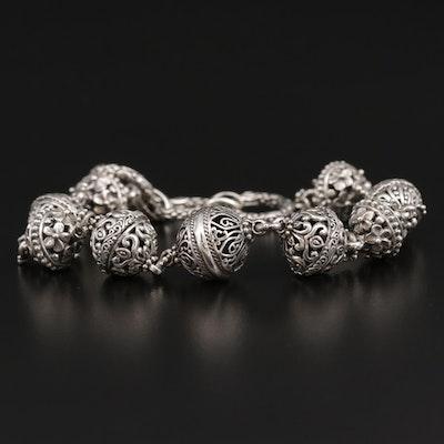 Sarda Sterling Silver Openwork Orb Link Bracelet
