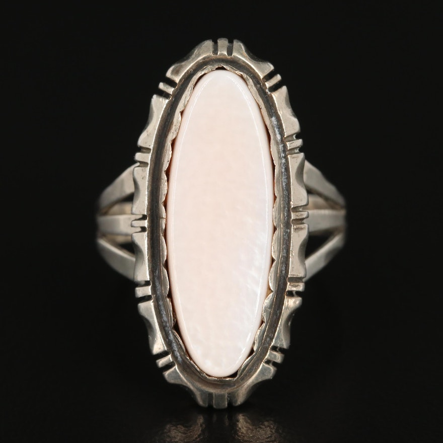 Southwestern Style Sterling Mother of Pearl Ring
