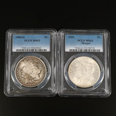 PCGS Graded MS63 1904-O and 1921 Morgan Silver Dollars