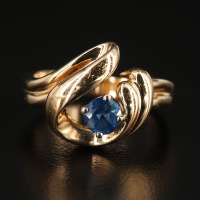 14K Yellow Gold Sapphire Ring With Swirl Motif