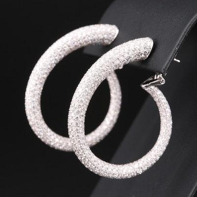 Odelia 18K Gold 9.50 CTW Pavé Diamond Hoop Earrings