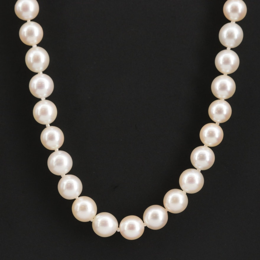 Vintage Strand of Mikimoto Pearls with Sterling Clasp