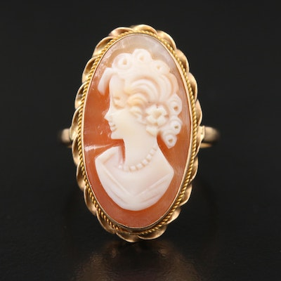 14K Yellow Gold Carved Helmet Shell Cameo Ring