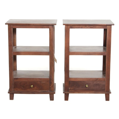 Pair of Indian Acacia Wood Tiered Nightstands