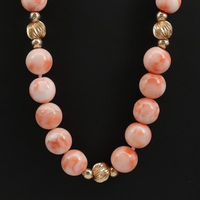 Beaded Coral Necklace with 14K Yellow Gold Spacers