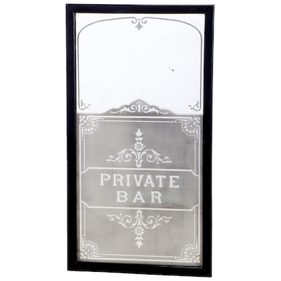 """Private Bar"" Etched Mirror in Ebonized Frame, 20th Century"