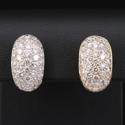 14K Yellow Gold 4.50 CTW Pavé Diamond Earrings