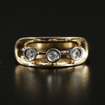 18K Yellow Gold Diamond Openwork Ring