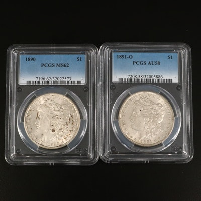 PCGS Graded MS62 1890 and AU58 1891-O Morgan Silver Dollars