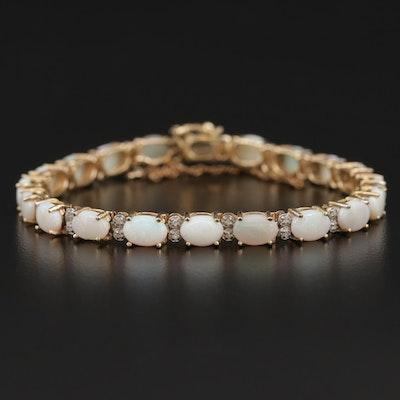14K Opal and Diamond Bracelet