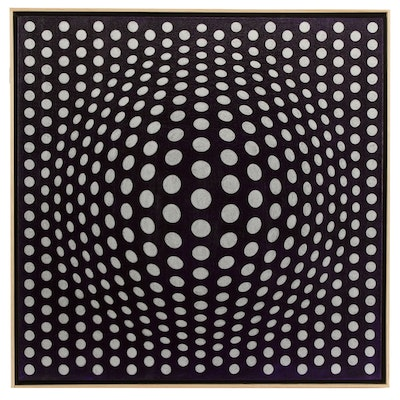 "deSanto Op Art Acrylic Painting ""Perfect Illusion VI"""