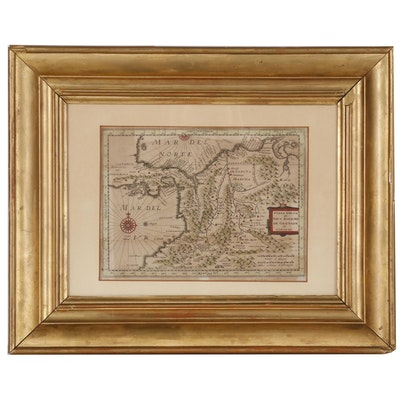 Antique Hand-colored Engraved Map of South America