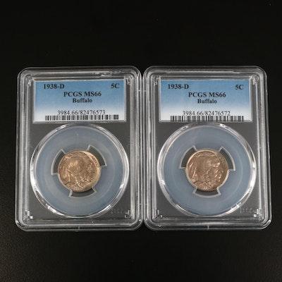 Two PCGS Graded MS66 1938-D Buffalo Nickels