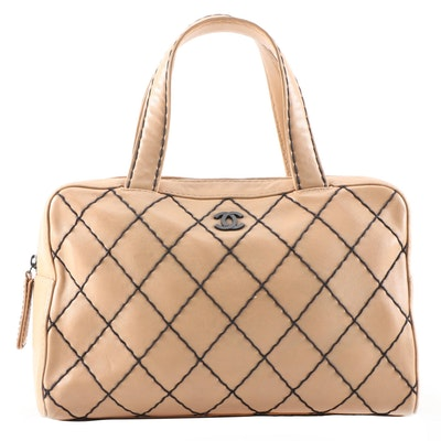 Chanel Tan Leather Wild Stitch Top Handle Bag with Black Contrast Stitching