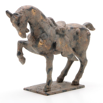 Japanese Gold-Leaf Accented Patinated Cast Iron Figure of a Horse