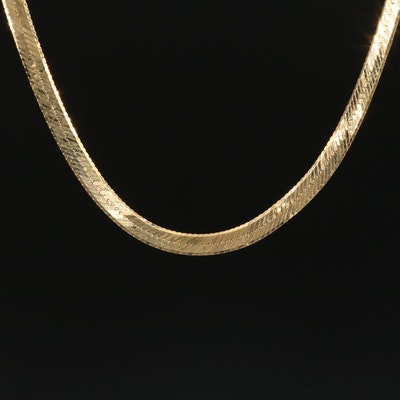 14K Yellow Gold Herringbone Scrap Chain