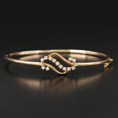 14K Yellow Gold Diamond Oval Hinged Bangle Bracelet