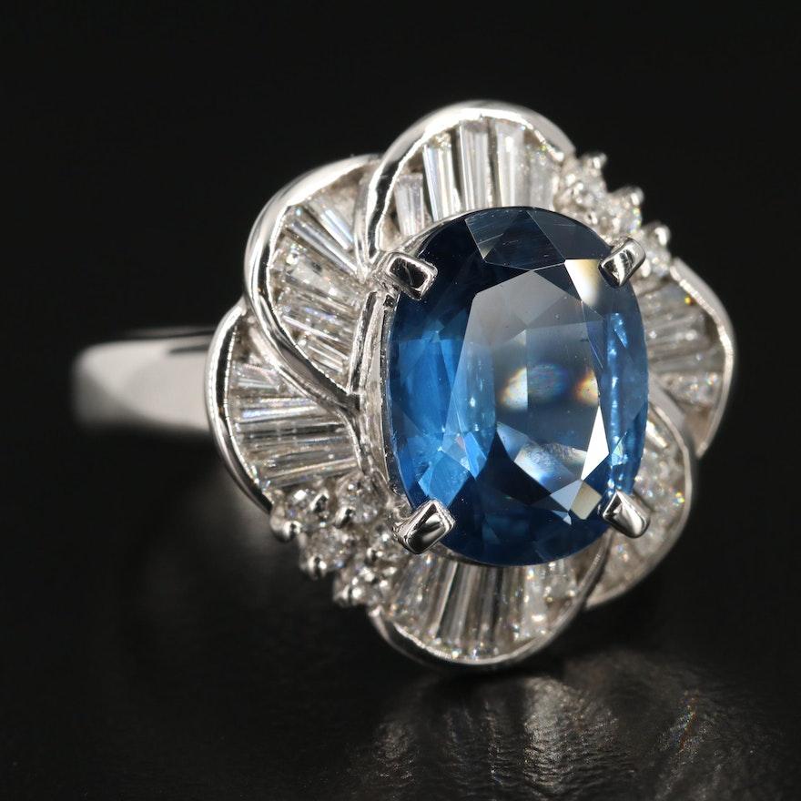Platinum 3.78 CT Sapphire and Diamond Ring