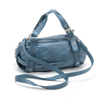 Doncaster Blue Leather Satchel with Crossbody Strap