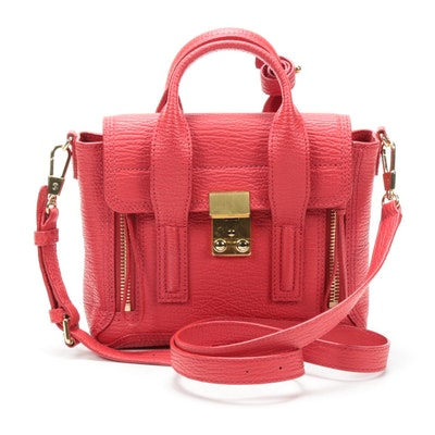 3.1 Phillip Lim Red Leather Pashli Satchel with Crossbody Strap