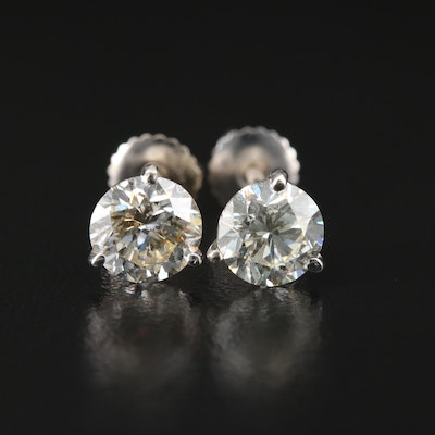 14K White Gold 1.99 CTW Diamond Solitaire Stud Earrings
