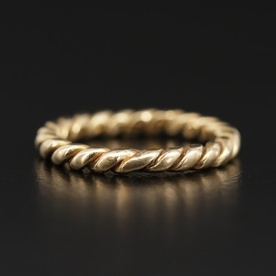 18K Yellow Gold Band with Rope Detailing