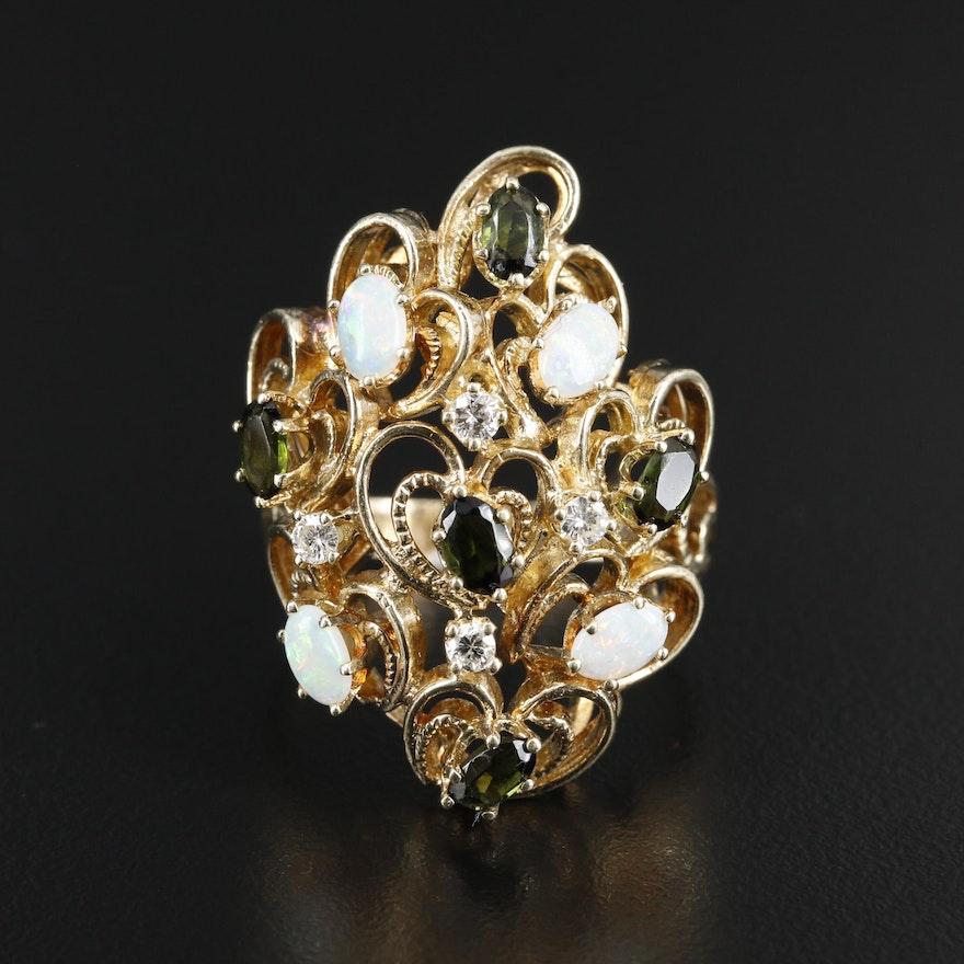 14K Gold Opal, Tourmaline and Diamond Openwork Ring