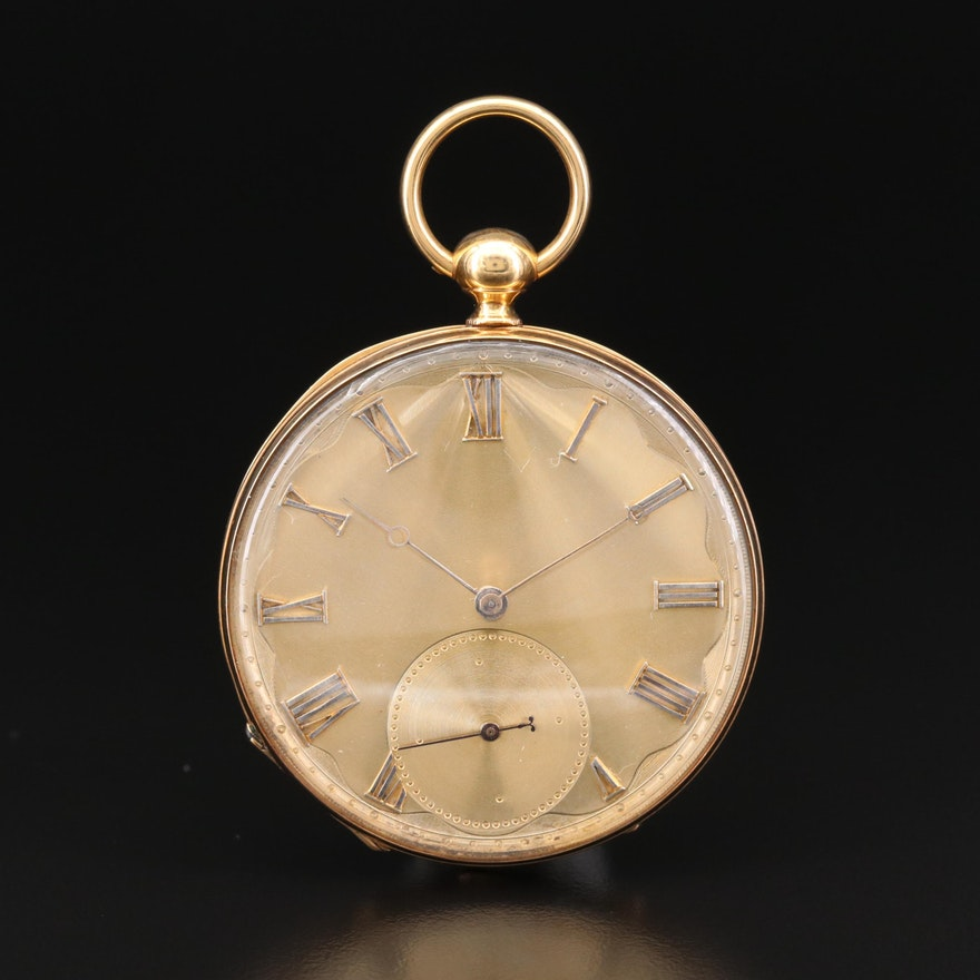 Antique M.J. Tobias 18K Gold Key Set Open Face Pocket Watch