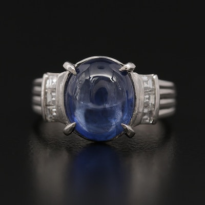 Platinum 4.46 CT Sapphire and Diamond Ring with GIA Sapphire Report