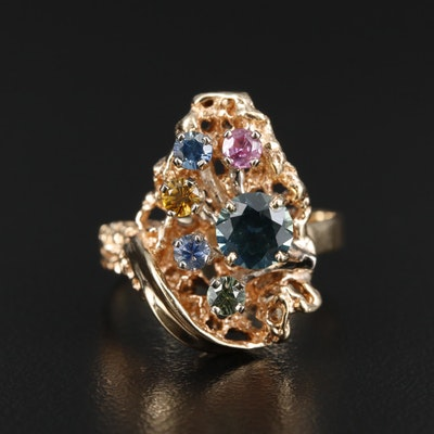 14K Yellow Gold Blue, Green, Red and Yellow Topaz Ring