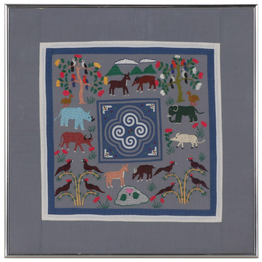 Hmong Paj N'Taub Reverse Appliqué Panel with Embroidered Animals