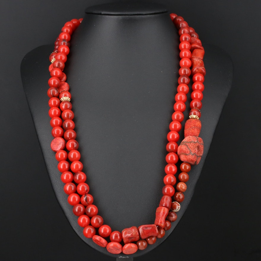 Adjustable Coral and Glass Beaded Necklace
