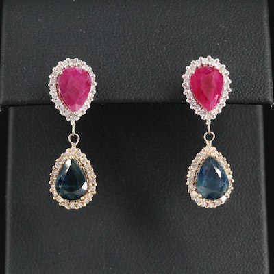14K Gold Ruby, Sapphire and Diamond Earrings