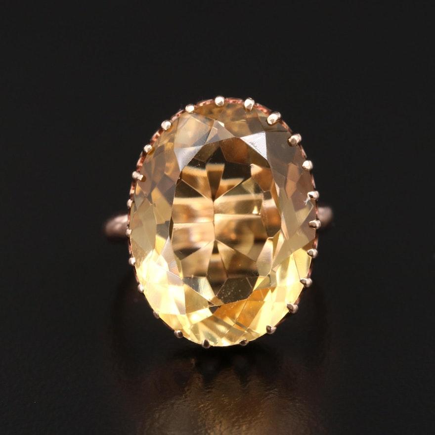 Vintage 10K Yellow Gold 19.12 CT Citrine Ring