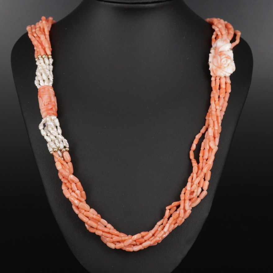 Multi-Strand Carved Coral, Pearl and 14K Gold Necklace