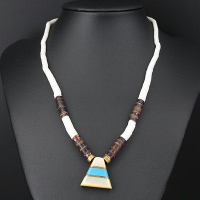 Mother of Pearl, Shell, Horn and Imitation Turquoise Necklace