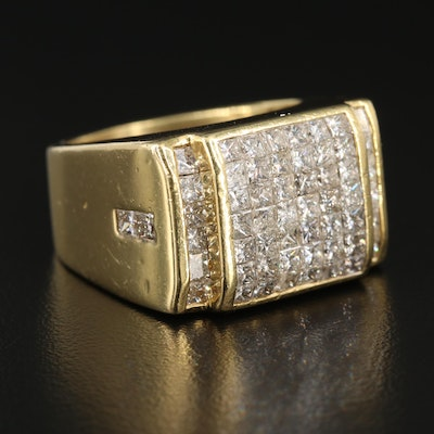 18K Yellow Gold 3.50 CTW Diamond Cluster Ring