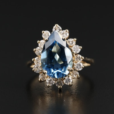 14K Yellow Gold Topaz and Diamond Ring